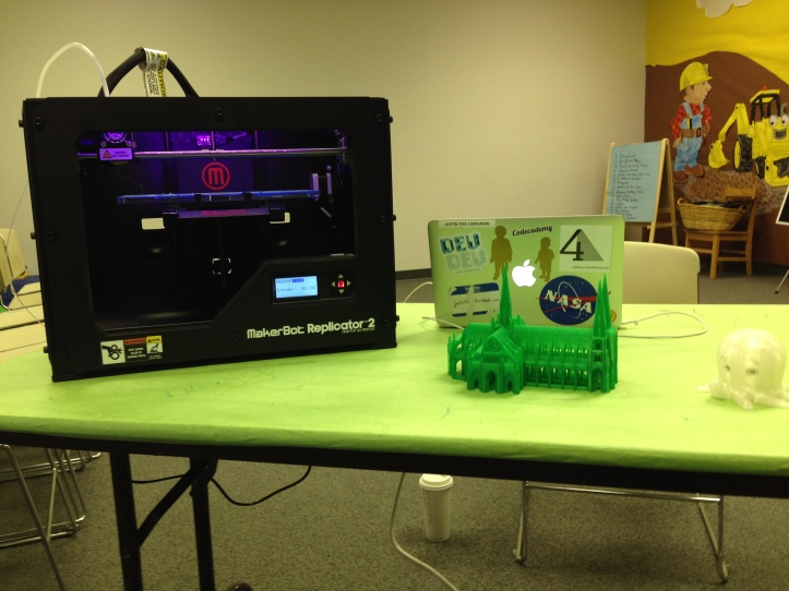 In the morning, I headed over to the Eastgate Branch Library and taught some kids, teens, and adults about 3D printing.