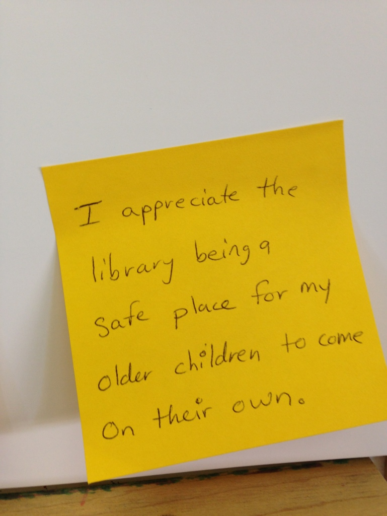 In the afternoon, I helped lead a focus group with two of my coworkers.  We spoke to parents of younger children about the ideas that they wanted to see happen on The 2nd Floor of the Downtown Chattanooga Public Library